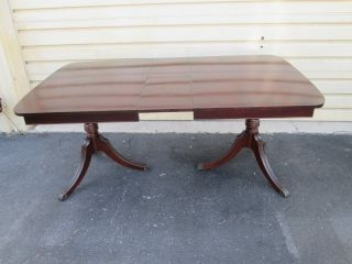 55718 Antique Mahogany Dining Table W/ 1 Hidden Leaf 73