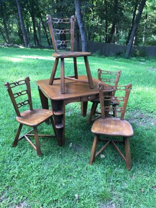 Romweber Viking Oak Carved Game Table Card Table And 4 Horse Head Chairs Rare photo
