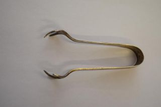 Hallmarked Silver Edwardian Sugar Tongs - Marks Anchor,  Lion & H - Antique photo