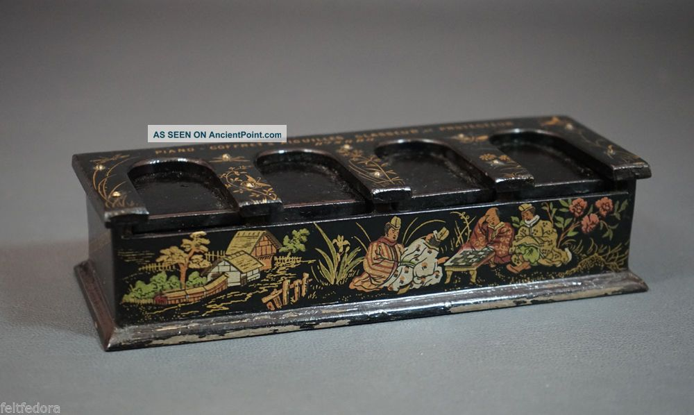 1880 French Lacquer Sewing Needles Piano Box Dispenser Chinoiserie Store Display Needles & Cases photo