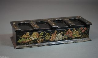 1880 French Lacquer Sewing Needles Piano Box Dispenser Chinoiserie Store Display photo