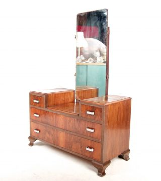 Art Deco Dressing Table Dressing Chest Of Drawers French Burl Walnut 1930s Vinta photo