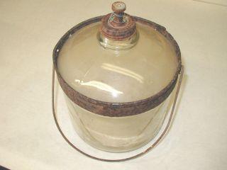 Vintage 1923 Perfection Stove Co Kerosene Oil Glass Jar Jug Bottle W Metal Bail photo