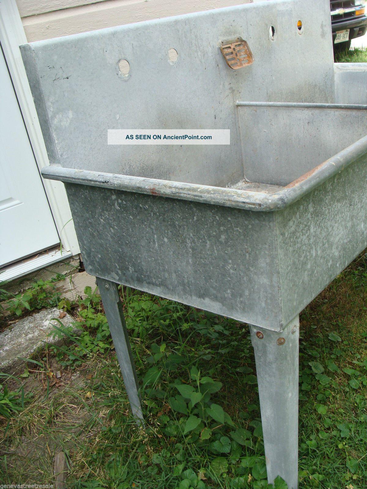 Large Industrial Sink : Large Antique Galvanized Double Basin Barn Industrial Sink Yard Garden ...