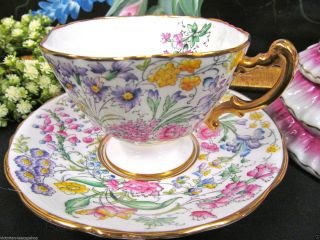 Hammersley Tea Cup And Saucer Floral Painted Chintz Pattern Quatrefoil Shape photo