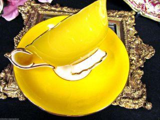 Paragon Tea Cup And Saucer Yellow Base Teacup Pattern Gold Gilt photo