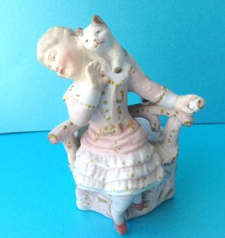 Antique Bisque China Match Striker/holder,  Seated Girl With Playful Cat. photo