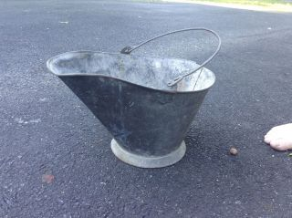 Antique Coal Scuttle Hod Bucket Metal Ash Bail With Handle photo