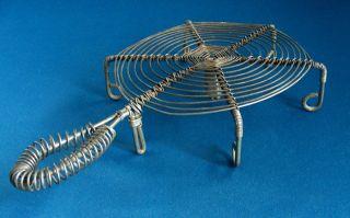 Vintage Primitive French Wire Trivet Coil Handle & Legs 5