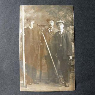 Rare R.  T.  Watson Occupational Real Photo Postcard Gunter Chain / Surveyors 1905 photo