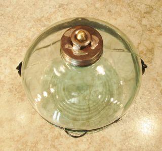 Vintage Kerosene Coal Oil Cook Stove Heater Blue Tint Glass Tank Jar Jug photo