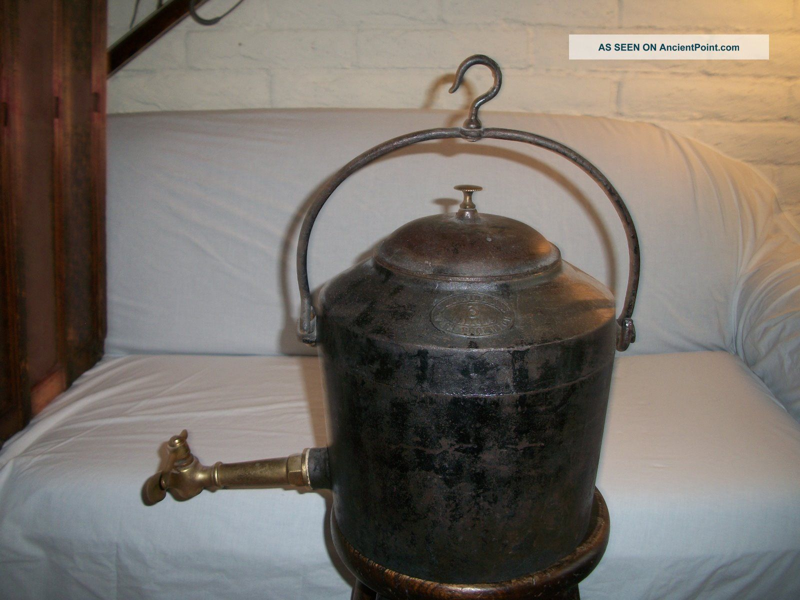Antique J.  J.  Siddons Cast Iron Kettle With Fireplace Hook And Brass Spout Hearth Ware photo