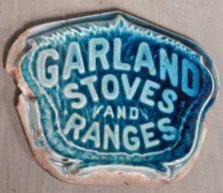 Antique Victorian Art Pottery Tile Garland Stoves & Ranges Advertising Ceramic photo