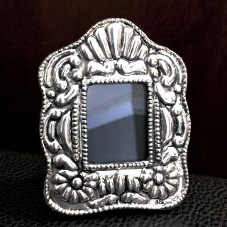 Miniature Sterling Silver Antique Style Style Small Picture Photo Frame 3.  75