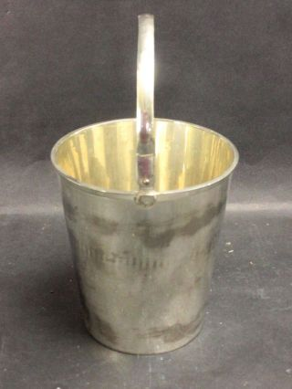 Antique Heavy Sterling Silver Ice Bucket Pail Shape With Movable Handle photo