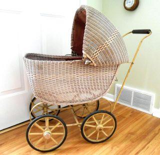 Lloyd Loom Baby Doll Buggy Carriage Pram Stroller Wicker Antique Vintage photo