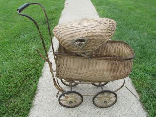 Antique Baby Carriage Wicker Baby Pram 1800s Vintage Stroller Doll Carriage photo