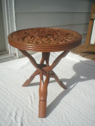 Mid Century Wood Syroco Style Checkers/chess/ornate Reversible Game Table Tripod photo