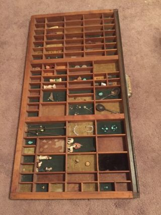 Older Vintage Type Tray Printers Drawer Shadow Box,  89 Sections photo