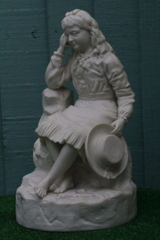 19thc Parian Seated Figurine Titled: The Secret Of The Sea C1880s photo