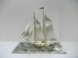 The Sailboat Of Silver985 Of Japan.  2masts.  270g/ 9.  51oz.  Takehiko ' S Work. photo