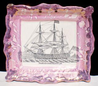 Dixon Maritime Commemorative Plaque Pre 1813 English Staffordshire Pink Luster photo