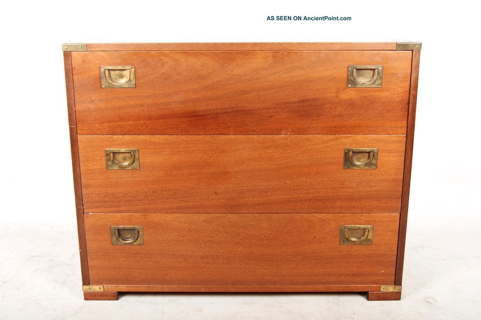 Vintage Chest Of Drawers Cabinet Mahogany Brass Campaign Style 20th Century photo