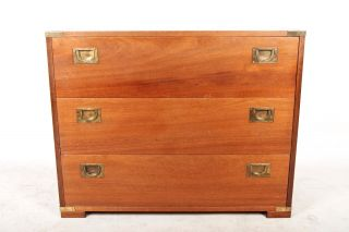 Vintage Chest Of Drawers Cabinet Mahogany Brass Campaign Style photo
