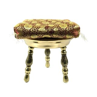 Small Brass Foot Stool With Engraved / Etched Design And Red,  Gold Cushion photo
