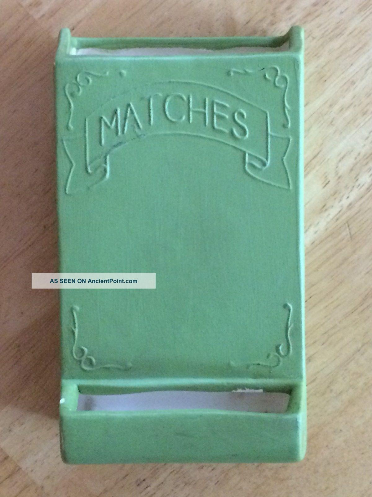 Vintage 1974 Ceramic Fireplace Match Holder - Green,  Cottage Chic,  Sierra Hearth Ware photo