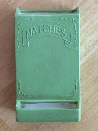 Vintage 1974 Ceramic Fireplace Match Holder - Green,  Cottage Chic,  Sierra photo