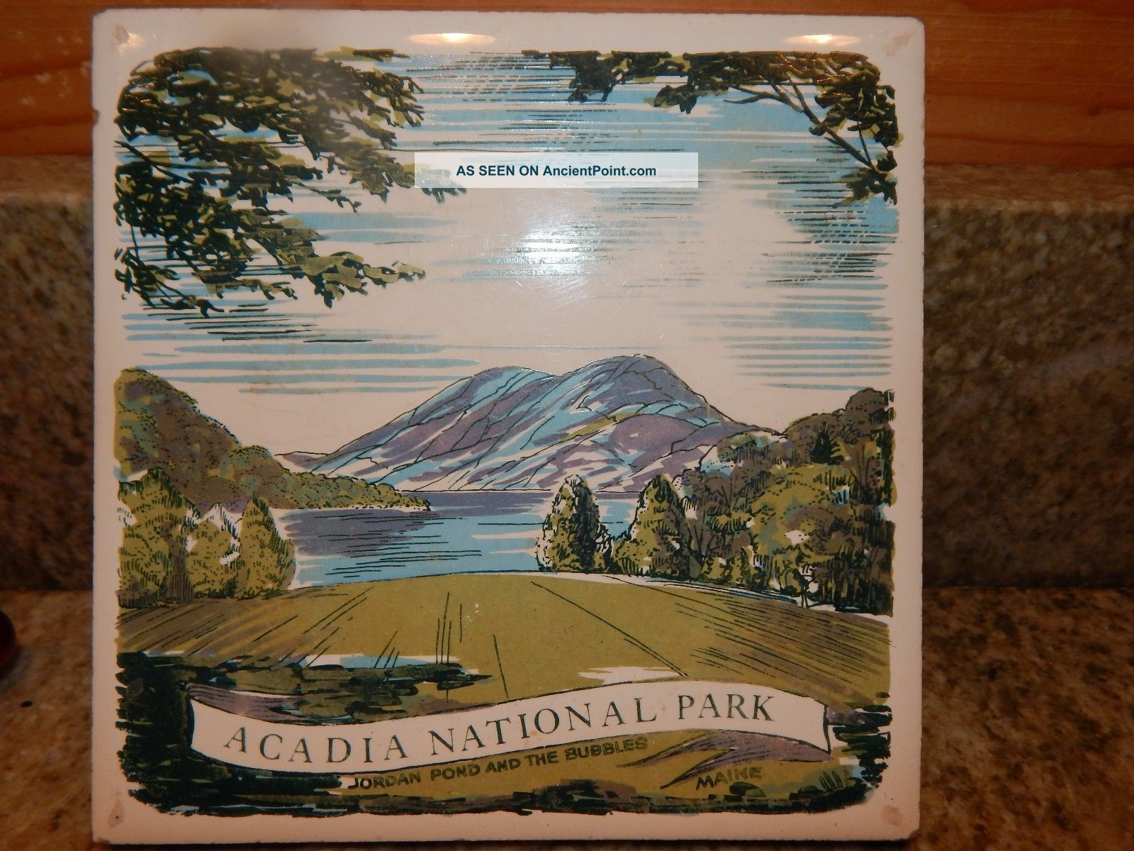 Acadia National Park Maine Ceramic Trivet Pot Holder,  Jordan Pond & The Bubbles Trivets photo