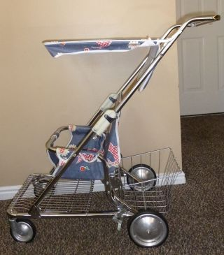 Peterson Stroller Vintage Antique Oldretro Baby Walker Seat High Chair Blue 60s photo