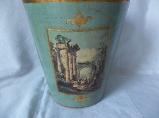Vintage Florentine Blue/green Waste Basket Trash Can Italy Italian Roman Column photo