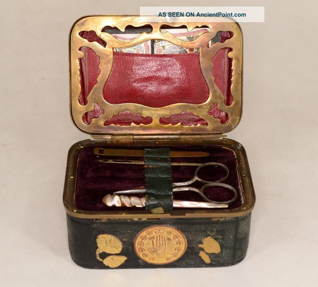 Sewing Box Civil War Era Case Kit 4 In.  Travel Needles Tape Button Awl Antique Baskets & Boxes photo