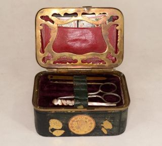 Sewing Box Civil War Era Case Kit 4 In.  Travel Needles Tape Button Awl Antique photo