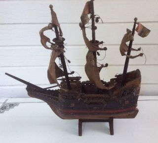 Vintage Wooden Sailing Model Ship Antique Spanish Galleon photo