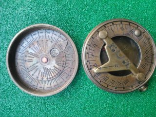 Pocket Sundial Brass Compas photo