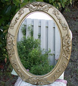Antique Gold Gilt Rococo 25x18 Oval Wood,  Gesso Frame Wall Mirror Ornate photo