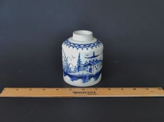 Rare Antique English Pearlware Chinoiserie Blue & White Tea Caddy Late 18th C photo