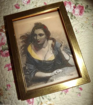 Antique 1910s Vintage Lady Ceramic Pyrography Tinted Painted Wood Framed 8 X 6