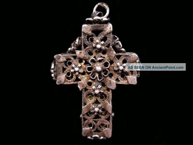 Gorgeous Antique 1800s.  Sterling Silver Filigree Cross Pendant, Byzantine photo
