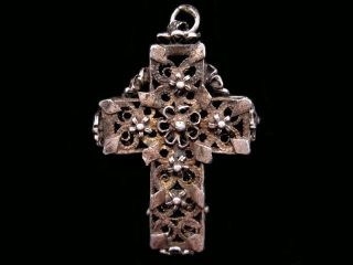 Gorgeous Antique 1800s.  Sterling Silver Filigree Cross Pendant, photo