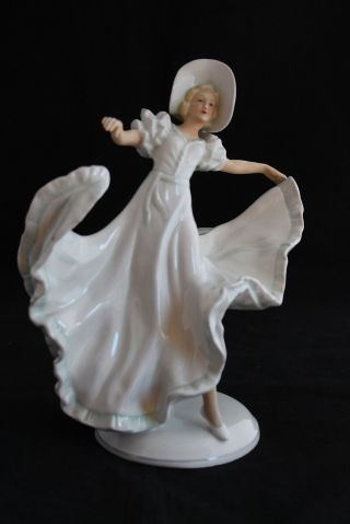 Antique Art Deco German Porcelain Dancer Lady Schau Bach Kunst Figurine 1275 photo