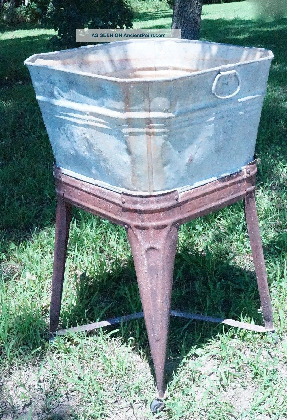 ... Metal Single Wash Tub Basin Base Wheeled Stand Rinse Tub Wringer Washe