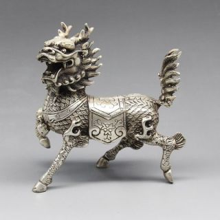 Chinese Silver Copper Statue - Kirin Statue photo