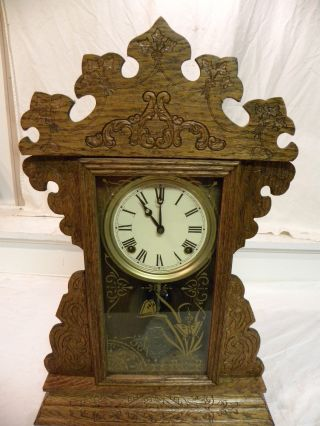 Antique American Sessions Fine Oak Parlor Clock Circa 1910 And Running photo
