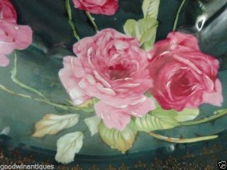 Antique German Hutschenreuther Hand Painted Teal Blue & Rose W Gold Cabinet Bowl photo