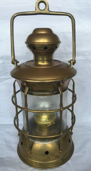 Vintage Brass Anchor Marine Oil Lantern Maritime Signal Lamp Cargo Light photo