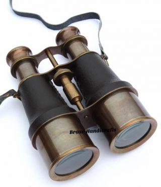Collectible Nautical Brass Binocular Telescope Leather Bound Navigator Marine photo